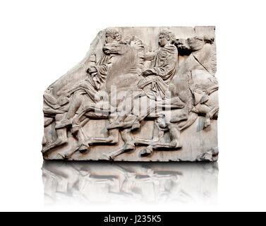 Releif Marmorskulpturen aus dem Norden Fries rund um den Parthenon Block XLII 115-117. Aus dem Parthenon von der - Stockfoto