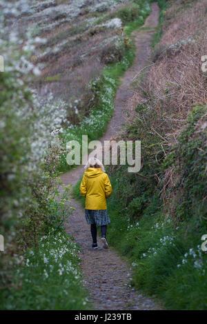 Eine einsame Frau in einer hellen gelben Jacke allein zu Fuß durch die Landschaft entlang des South West Coast Path - Stockfoto
