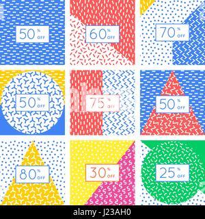 Angebot Verkauf Tag Rabatt Symbol Karten Design Set Abstrakte Geometrische Elemente Layout