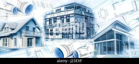 Neue Gebäude mit einer Schale und Blaupausen als Symbol für die Bauindustrie oder die Immobilienwirtschaft. - Stockfoto