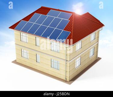 Solar panels auf den Aufbau auf dem Dach installiert wird. 3D Illustration. Stockfoto