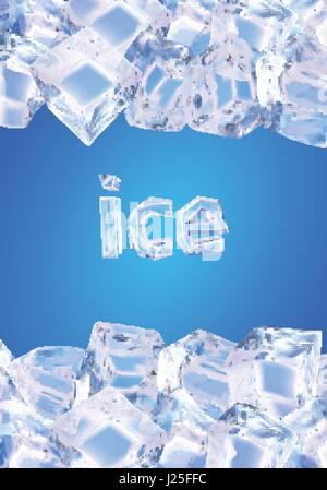 Vektor-Illustration mit Verlaufsgitter gemacht. Hintergrund mit Eiswürfeln - Stockfoto