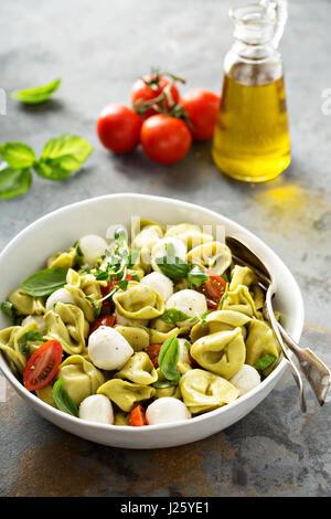 Italienische Pasta-Salat mit Spinat-Ricotta-Tortellini, Mozzarella, Tomaten und Basilikum - Stockfoto