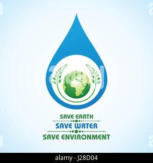 Speichern Sie Erde, Wasser und Umwelt Konzept Lager Vektor - Stockfoto