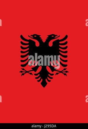 Offizielle große flache Flagge von Albanien vertikal - Stockfoto