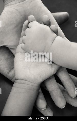 Vier Hände der Familie, ein Baby, eine Tochter, eine Mutter und einen Vater. Konzept der Einheit, Unterstützung, - Stockfoto