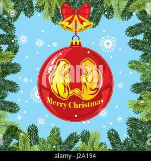 Weihnachtsgeschichte. Die Geburt Jesu Christi. Joseph, Maria und das Kind in Bethlehem. - Stockfoto
