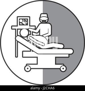 kreisförmigen Rahmen Schattierung mit Silhouette schwangere Frau mit Geburtshelfer - Stockfoto