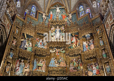 Gotische Retablo in der Capilla Mayor (Hauptkapelle) in der Kathedrale von Toledo in Toledo, Spanien. Spät gotische - Stockfoto