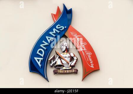 Ein Zeichen für die Adnams alleinige Bucht Brauerei in Southwold. - Stockfoto