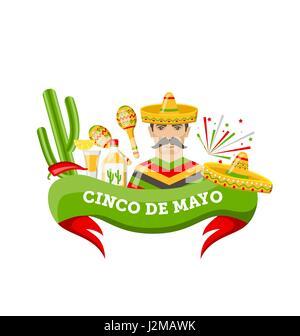 Cinco De Mayo-Banner mit mexikanischen Symbole und Objekte - Stockfoto
