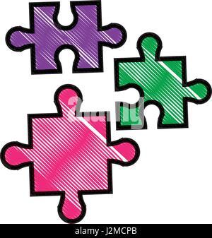 Zeichnung Puzzleteile Objekt Form Arbeit - Stockfoto