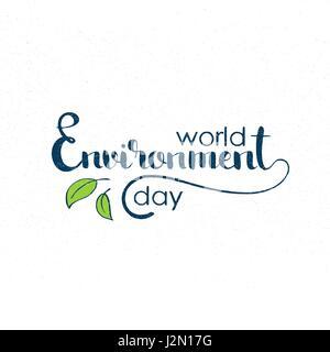 Welt-Umwelttag handschriftlich Schriftzug. Moderne Vektor handgezeichneten Kalligraphie mit Grunge-Overlay-Textur - Stockfoto