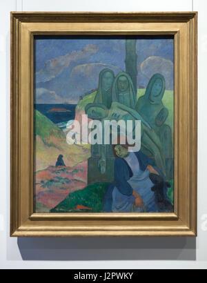 """Gemälde """"Breton Golgatha"""" (""""Green Christus"""") französischen Post-impressionistischen Malers Paul Gauguin (1889) auf - Stockfoto"""