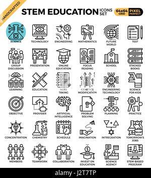 STEM (Wissenschaft, Technik, Ingenieurwesen, Mathematik) Bildungskonzept detaillierte Linie Symbole inmitten einer - Stockfoto
