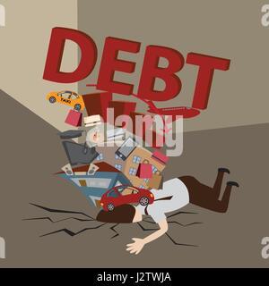 Geschäftsmann mit Schulden. Schulden-Konzept. Cartoon-Vektor. - Stockfoto