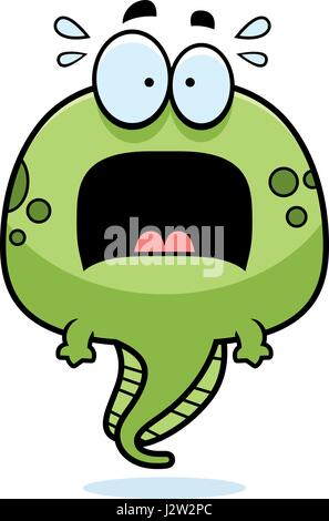 Angst, eine Cartoon-Illustration von einer Kaulquappe, die auf der Suche. - Stockfoto