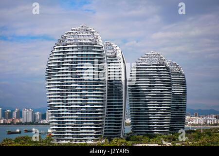 Horizontale Ansicht der Phoenix-Insel-Komplex in Sanya, Insel Hainan, China. - Stockfoto