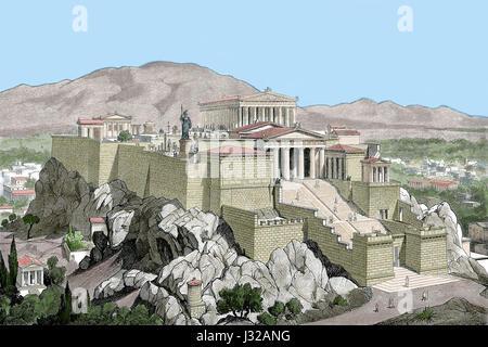Griechenland. Akropolis von Athen. Kupferstich, 19. Jahrhundert. Farbige.