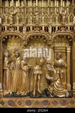 Enthauptung des Heiligen Johannes des Täufers. Detail des Altars der Heiligen und Märtyrer aus der Chartreuse de - Stockfoto