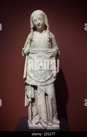 Saint Veronica. Statue von einem Burgund Master aus der Mitte des 14. Jahrhunderts datiert auf Anzeige im Musée - Stockfoto