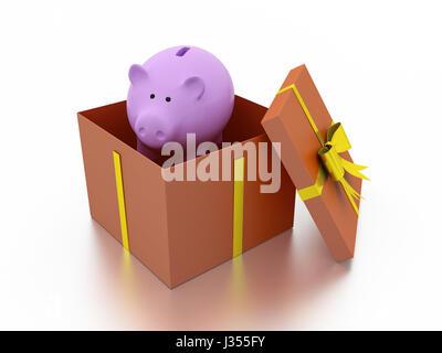 Geschenkbox mit Sparschwein - Stockfoto