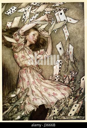 Illustration von Arthur Rackham Alices Abenteuer im Wunderland von Lewis Carroll London, William Heinemann, 1907. - Stockfoto
