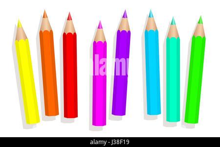 Kleines Baby Neon Buntstifte - fluoreszierende Buntstifte kurz locker angeordnet - isolierte Abbildung auf weißem - Stockfoto