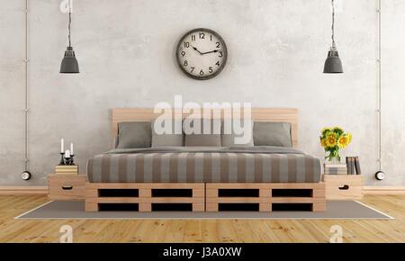 Master-Schlafzimmer im rustikalen Stil mit Palette Bett - 3d rendering - Stockfoto