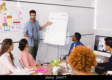 Kollegen betrachten Geschäftsmann erklären, während der Sitzung im Büro - Stockfoto