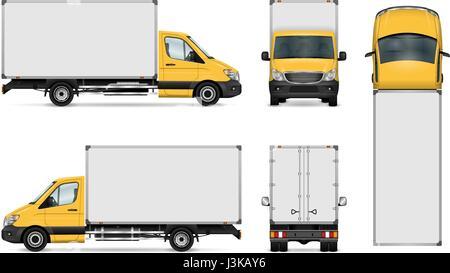 Van Vektor Vorlage für Auto, branding und Werbung. Isolierte Lieferumfang LKW. Alle Schichten und Gruppen organisiert - Stockfoto