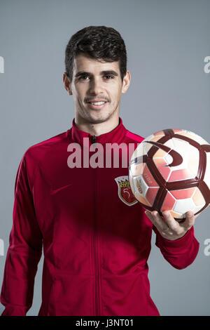 Porträt des brasilianischen Fußballspielers Oscar von Shanghai SIPG F.C. für die 2017 Chinese Football Association - Stockfoto