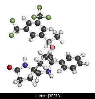 Rolapitant antiemetische Wirkstoffmolekül. Atome sind als Kugeln mit konventionellen Farbcodierung vertreten: Wasserstoff - Stockfoto