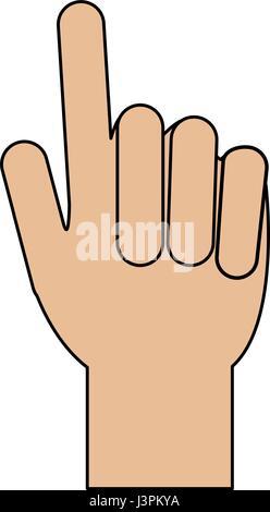 Farbe der Silhouette Bild Hand mit zwei Fingern bis - Stockfoto