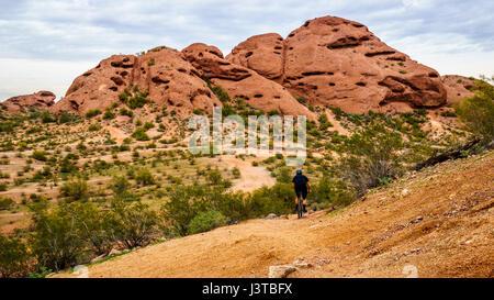 Mountainbiker herab eine Spur auf den roten Sandstein Buttes Papago Park mit seinen zahlreichen Höhlen und Spalten, - Stockfoto