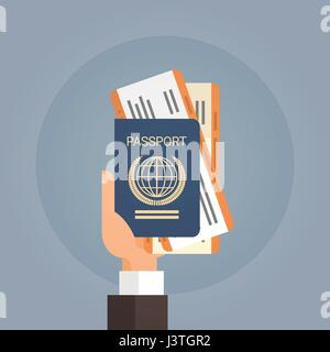 Hand Holding Pass Ticket Bordkarte Reisedokument - Stockfoto