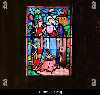 Szene aus der Geschichte von Ruth, Glasfenster von Robert Bayne von Heaton Butler & Bayne, 1862, Sculthorpe Kirche, - Stockfoto