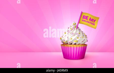 3D Rendering von rosa Cupcake, goldenen Streifen um Cupcake - Stockfoto