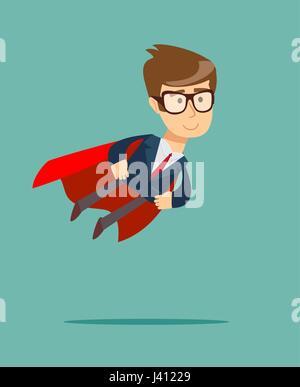 Super Geschäftsmann in roten Cape fliegen zum Erfolg. - Stockfoto