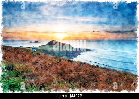 Aquarell-Malerei eines Sonnenuntergangs über Cape Cornwall von der South West Coast Path auf der Küste Cornwalls - Stockfoto