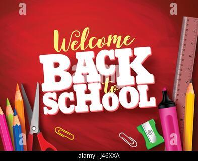 Zurück zu Schule-Vektor-Banner-Design in rot Texturen Hintergrund mit Schulmaterial und Elemente und 3d Titel. Vektor - Stockfoto