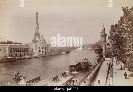 Perspektive Sur la Seine, Vue Prise du Pont de Alma - Stockfoto