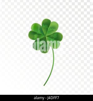 Four Leaf Clover auf einem transparenten Hintergrund. Vektor-Illustration für den Urlaub von St. Patrick. Grünen - Stockfoto