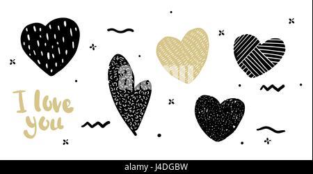 Legen Sie in das Herz Hipster Stil Doodle. Herzen können als Druck auf der Tasche, T-shirt, im Banner verwendet - Stockfoto