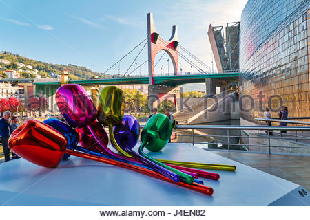 Das äußere des Guggenheim-Museum von Frank Gehry, Bilbao, Baskenland, Spanien, Europa - Stockfoto