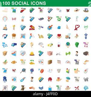 100 social-Icons Set, Cartoon-Stil - Stockfoto