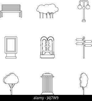 Park Dinge Icons Set, Umriss-Stil - Stockfoto