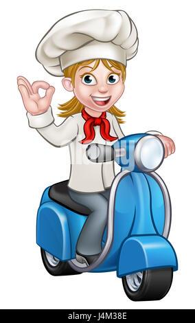 koch oder k chin comicfigur eine lieferung moped motorrad motorroller und halten eine pizza. Black Bedroom Furniture Sets. Home Design Ideas