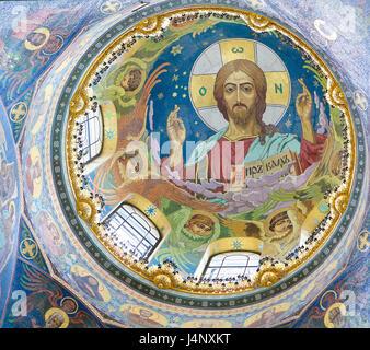 Mosaik in der Kirche des Erlösers auf Auferstehungskirche in St. Petersburg, Russland, Darstellung von Jesus Christus - Stockfoto