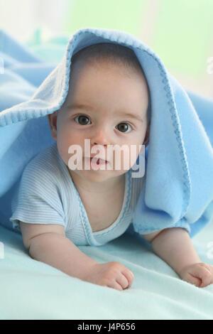 Baby, 4 Monate, weichen Kappen, Porträt, Modell veröffentlicht, Menschen, Kind, Kleinkind, Kind Portrait, Baby Portrait, - Stockfoto